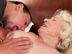 Saggy granny gets furry labia drilled deeply