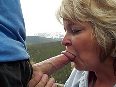 Grandma shows off her oral skills in nature