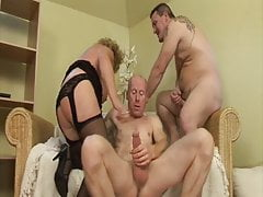 Granny fucked by hubby and stepson