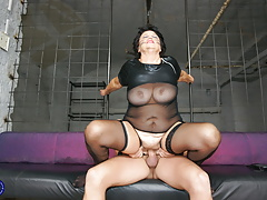 Kinky granny gets super hot creampie from young slave