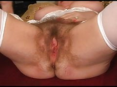 Unshaven furry underarms and pussy of grandmother Buxomy