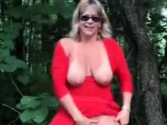 Exhibition of gorgeous mature bitch outdoor. Amateur elder
