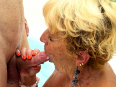 Poolside grandma gets her pussy ground