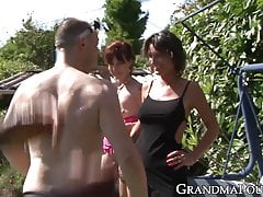 Mature ladies internationally plumbed in an outdoor orgy
