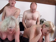 AgedLovE Group Orgy of  Mature Couples Together