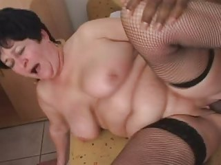 Granny in all directions Fishnet Stockings Fucks