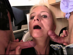 Skinny old blonde swallows 2 cocks for work