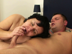 His hairy  mother sucks and rides shaft