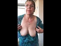 Horny granny shows orbs and ass