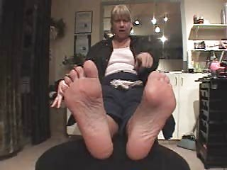 Grandma taking feet