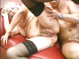 Grandma loves down drag inflate and charge from young cock