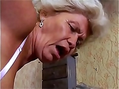 Hot comme ci granny Francsina rides a hard cock and then gets a caring facial