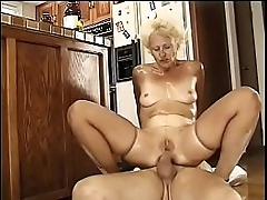 Granny festival whore gets the brush twat and asshole drilled hard by two waiter's dicks
