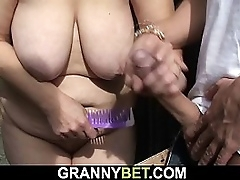 Blonde granny rides his horny load of shit