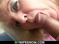 Blonde granny rides his broad in the beam muscle