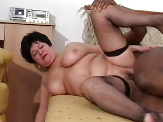 Granny in Stockings Loves BBC
