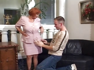 56 Yr. Old Redhead Granny Fucked Overwrought A Young Cock