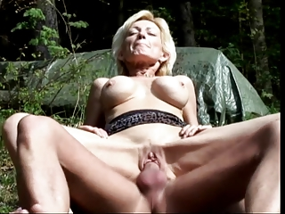 Mature fair-haired sucks load of shit increased by gets fucked