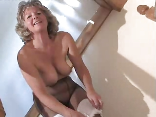 Loved Granny In Dismal Pantyhose Toying On The Steps
