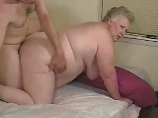 Unskilled fat granny enjoys cock