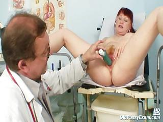 Mature Olga has her redhead Victorian pussy gyno speculum examined by gyno bastardize