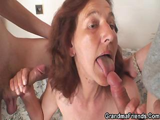 Elderly bitch is banged off out of one's mind two young painters
