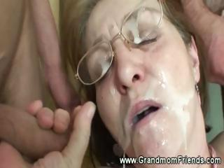 Horny granny gets facial foreign men