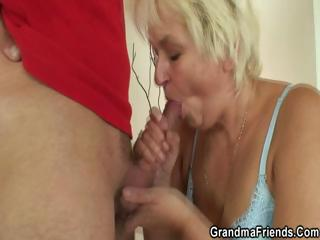 Mart granny takes two cocks