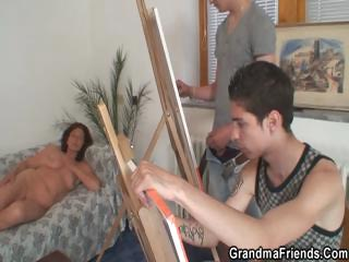 Naughty granny takes four young dicks