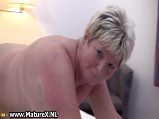 Heavy of age blonde is horny and plays part2
