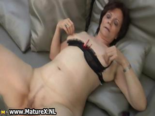Grown up housewife at hand sexy stockings part6