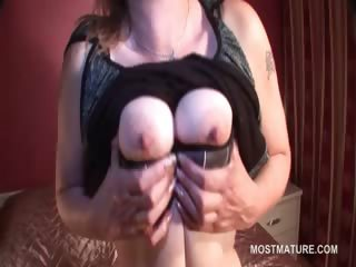 Naked lusty mature influential bosom increased by pussy just about bed