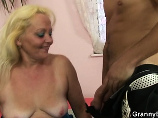 Old blonde rides his cock