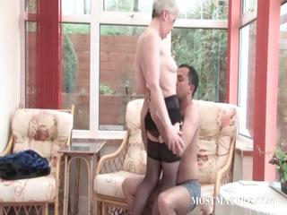 Mature slut gets pussy teased primarily a chair