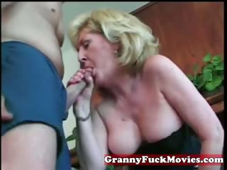 Avid blonde granny with younger guy