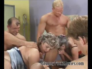 Grandma in hardcore group sexual connection ribbon