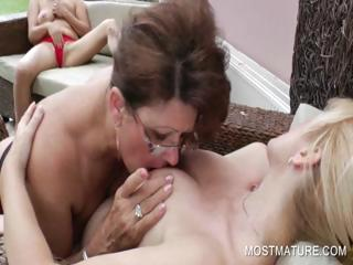 3some connected with mature licking hot boobs