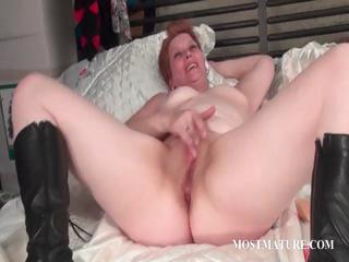 Dildo fucking with mature redhead