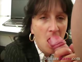 Adult secretary giving POV blowjob