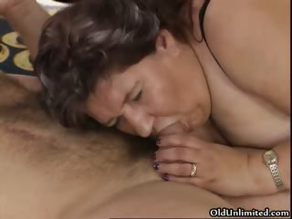 Nasty age-old slut sucks on an indestructible cock part6