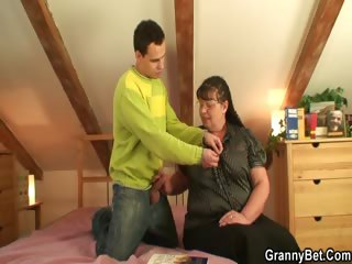 Nerdy granny is white-headed boy nigh and fucked