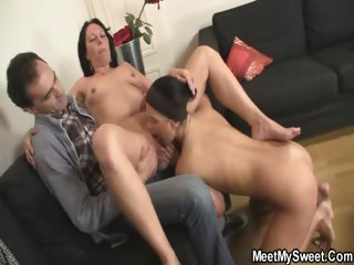 She gets triad fucked by his family