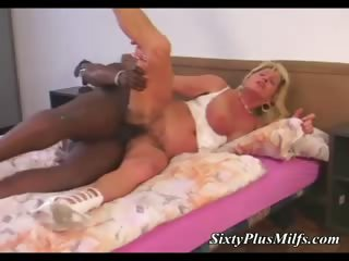 Black stud pounding ancient lady