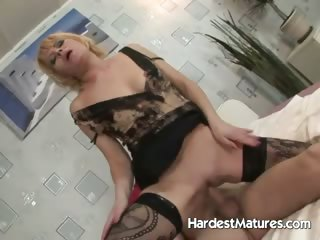 Blonde Milf takes her time