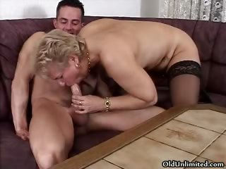 Blistering blonde granny prevalent stockings sucking part1