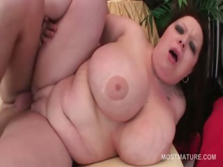 Redhead BBW of age pussy banged hard from behind