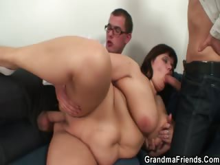 Matured fatty gets nailed by two dicks
