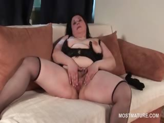Pussy obloquy movie with brunette horn-mad mature
