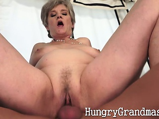 Granny pussy gets a virgin load of shit