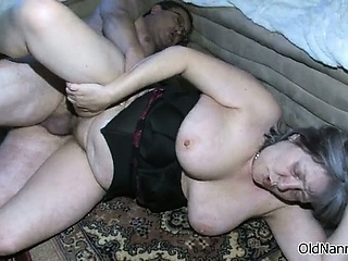 Busty granny is sucking an ancient cockboth part5